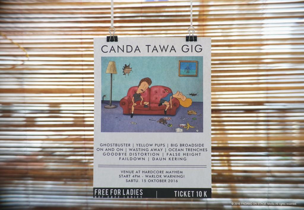 Poster cetak Canda Tawa Gig (foto oleh Hebiet Harike/PADANGONSTAGE.COM)
